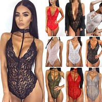 Women's Lace Lingerie Babydoll Dress Romper Sheer Nightwear Sleepwear Bodysuit