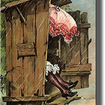 A Woman with Umbrella in Ladies Outhouse Toilet Bathroom Picture on Stretched Canvas Wall Art Decor Ready to Hang!.