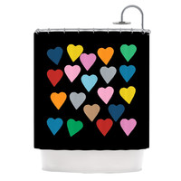 """Project M """"Hearts Colour on Black"""" Shower Curtain"""