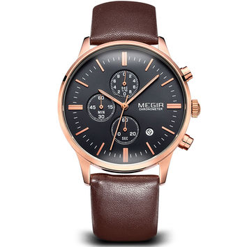 Megir Chronograph Black Canvas & Genuine Leather Strap Business Watch Quartz