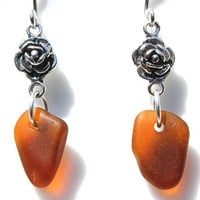 Amber Sea Glass Earrings Sterling Silver by SeaglassReinvented