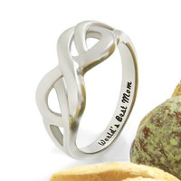 "Mother Ring, Double Hearts Infinity Ring, Promise Ring ""Worlds Best Mom"", Mother Daughter Forever"