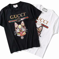 Gucci Husky Embroidery Little dog Cotton Tee Shirt Top B-GQHY-DLSX Black/White