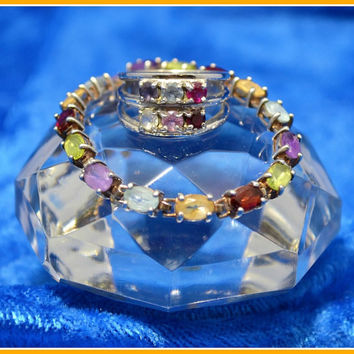 Rainbow Bright Matching Multicolored Gemstone Ring and Bracelet - Sterling Silver - Size 6.5