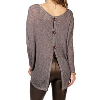 Gray Dolman Open Back Top
