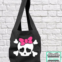 Girly Skull Tote Bag - Sling Bag - Direct Dye Bag - Comfort Colors