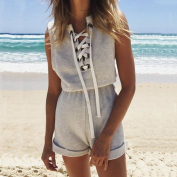 Strappy Sleeveless Beach Jumpsuit Rompers