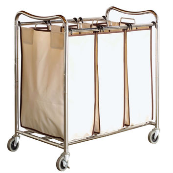 Heavy Duty 3-Bag Laundry Hamper Cart with Lockable Wheels