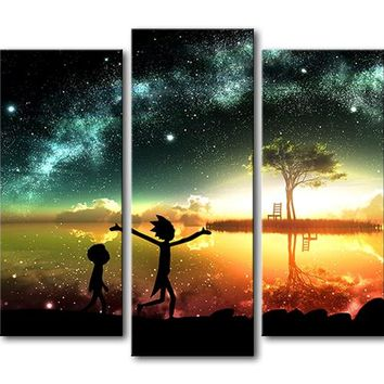 Rick and Morty Stars Night Eve Wall Art Print Modern Home Decor Picture Framed U