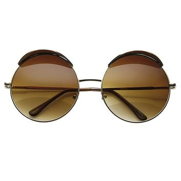 Oversize Eye Brow Designer Round Metal Sunglasses 8626