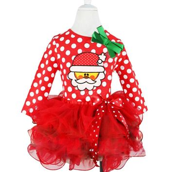 Girls Dress 2017 Christmas Girls Tutu Dress Dots Red Santa Claus Children Clothing Party Girls Clothes Long Sleeve Baby Dress