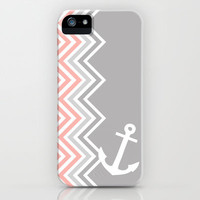 Coral Nautical Chevron  iPhone & iPod Case by Sunkissed Laughter