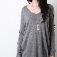 Boxy Center Seam Knit Sweater