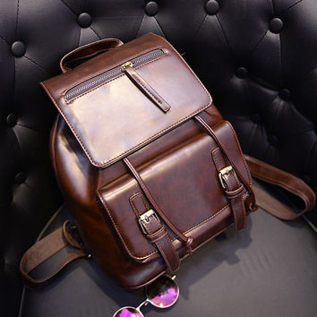 On Sale Comfort Hot Deal Casual Back To School Stylish College Autumn PU Leather Backpack [6582314951]