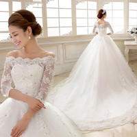 2015 bride wedding dress new spring a long sleeved shoulder long tail sleeve lace wedding dress bride wedding Couture Ball Gown Elegant Wedding Dress 192421247
