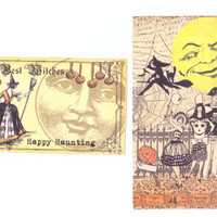 2 large Halloween tags -printing on both sides