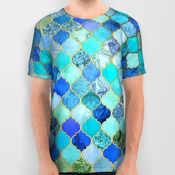 Cobalt Blue, Aqua & Gold Decorative Moroccan Tile Pattern All Over Print Shirt by Micklyn
