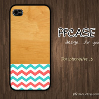 Classic wood with chevron Pattern : Handmade Case for Iphone 4/4s , Iphone 5 Case Iphone