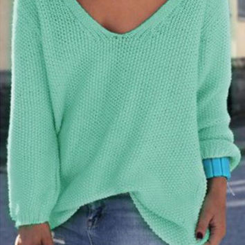 Large Size Plain V-Neck Sweater B0013592