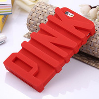 3D PINK Letter Soft Silicone Cover Shell Case for Apple iPhone