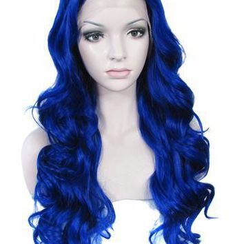 Pure Blue Drag Queen Wave Long Synthetic Lace Front Wig