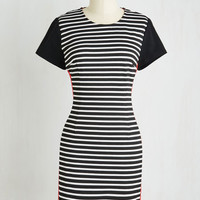 Colorblocking Short Sleeves Sheath Prepare and Contrast Dress
