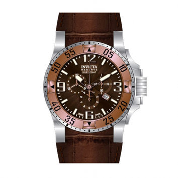 Invicta 10902 Men's Reserve Excursion Brown Textured Dial Rose Gold Tone Bezel Chronograph Brown Leather Strap Dive Watch