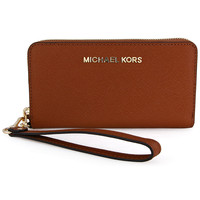 Michael Kors Jet Set Brown Leather Multi-Function Phone Case