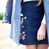 Denim Floral Zippers Skirt [10390677389]