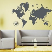 Style & Apply - Detailed World Map - wall decal, sticker, mural vinyl art home decor