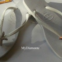 Slim White Havaianas Thongs FlipFlops Swarovski Starfish Crystals ALL COLORS 004