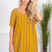 Moody Stripes Marigold Dress