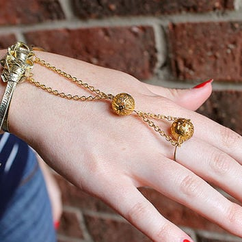 Gold Leather Metal Bead Slave Bracelet