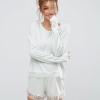 ASOS Eyelash Lace Trim Long Sleeve & Short Pajama Set at asos.com