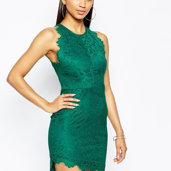 Missguided Lace Scalloped Hem Bodycon Dress