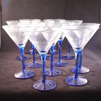 Set of 12 Martini Glasses Resting in a Cobalt Blue Petal Stem