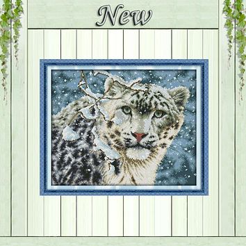 Snow leopard winter animal Counted print on canvas DMC 14CT 11CT Cross Stitch DIY Needlework kit Embroidery Sets Home wall Decor