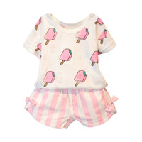 Kids Girls Clothing Set Summer Kids Girl Clothes Cute Ice Cream Hole T-shirt +Striped Bow Short Suit 2 pcs Clothing