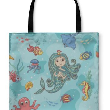 Tote Bag, Pattern With Mermaid Princess