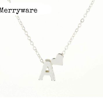 Tiny Silver Initial Letter Pendant Necklaces