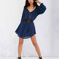 Ecote Julia Poet-Sleeve Dress- Blue