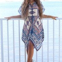 Free Falling Multi-Print Handkerchief Dress
