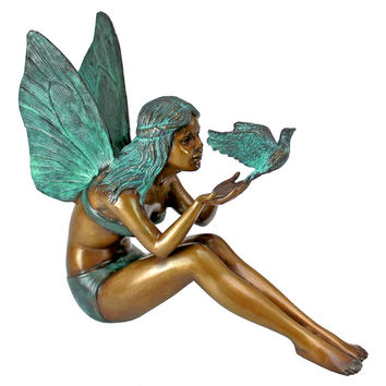 Park Avenue Collection Bird Fairy Bronze Statue