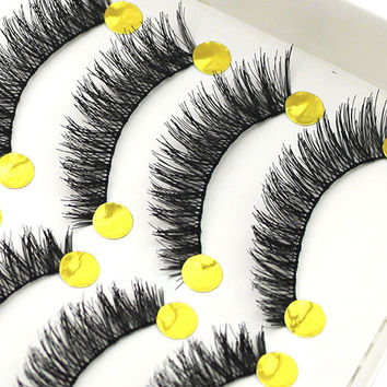 10 Pairs Handmade Long Thick Cross False Eyelashes Makeup Eye Lashes Extension Chic Design