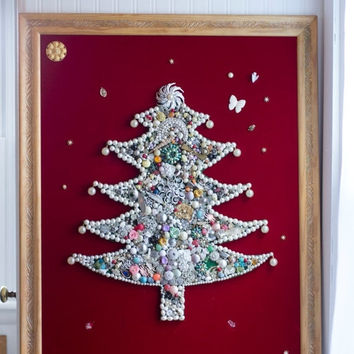 Large Framed  Vintage Jewelry Christmas Tree, Elegant Mid Century