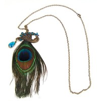 Vintage Bronze Peacock with Peacock Feather Long Retro Fashion Necklace