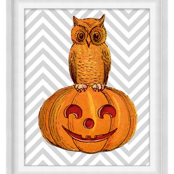 Printable Poster: Owl & Pumpkin Over Chevrons - Vertical 8x10 - Digital Wall Art - Printable Art