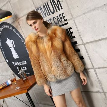 "European Brand famous 2018 new Whole pelts Body Sleeve women""s Natural fox fur coats   Superb amazing real fur jackets"