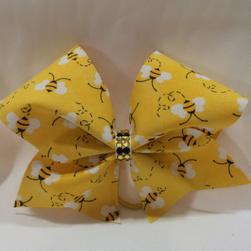 Queen Bee Yellow Cheer Bow and Swarovkski Crystals