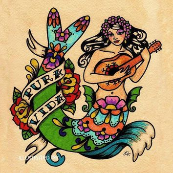 Mermaid Folk Art Tattoo Print PURA VIDA 11 x 14 by illustratedink